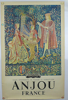 Anjou France Tapestry Original Vintage Travel Poster 1950