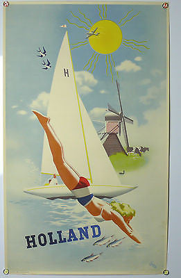 Holland Original Vintage Travel Poster 1940's-50's