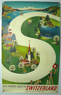 All Roads Lead To Switzerland Original Vintage Travel Poster 1940s Leupin
