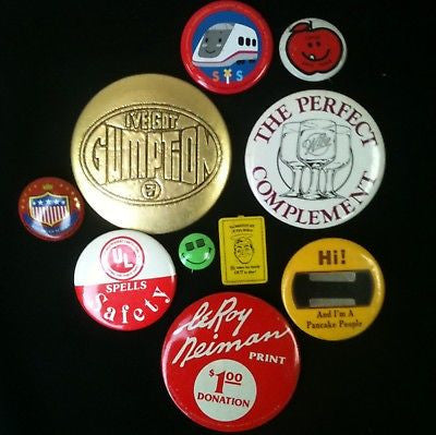 Mixed Lot Of 10 Pinback Buttons #54