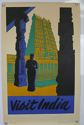 Visit India Original Vintage Travel Poster 1950's