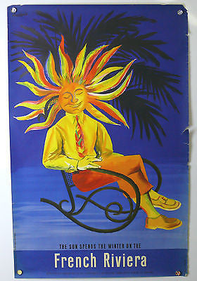 Sun Spends The Winter On French Riviera Original Vintage Travel Poster 1950's