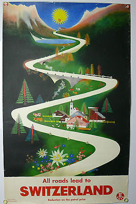 Switzerland Original Vintage Travel Poster 1950's Carigiet