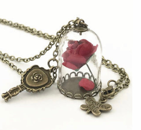 Beauty And The Beast Rose Necklace Boots Baubles Jewelry