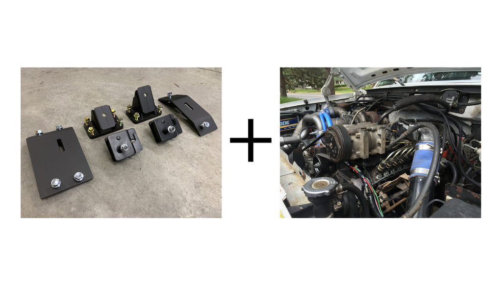 Bundle: Motor Mounts (1980-1997 Ford F250/350 to 12v/24v/CR Cummins) & OBS Ford Cummins AC Compressor Mount - FREE SHIPPING