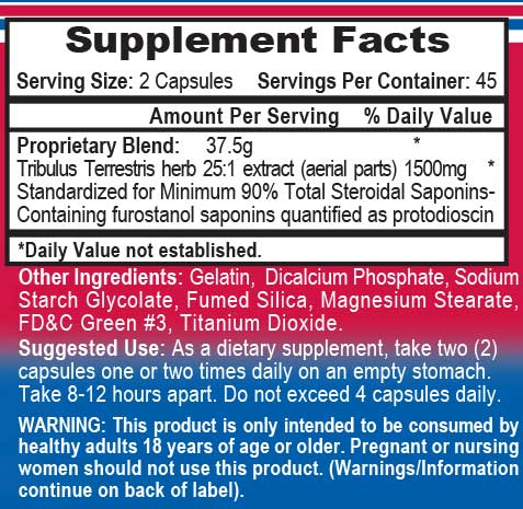 APS Tribulus Supplement Facts