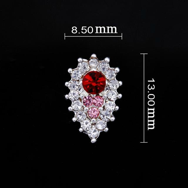 Medium Crystal/red/pink Teardrop Nail Jewellery