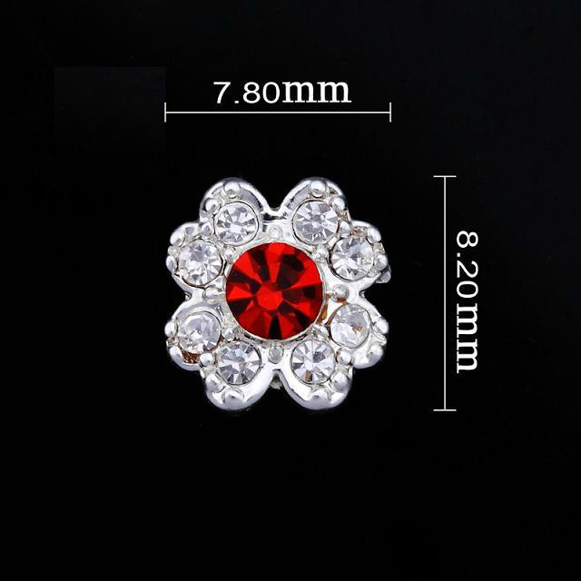 Small Red/crystal Flower Nail Jewellery
