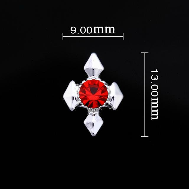 Diamond Cross Red Nail Jewellery