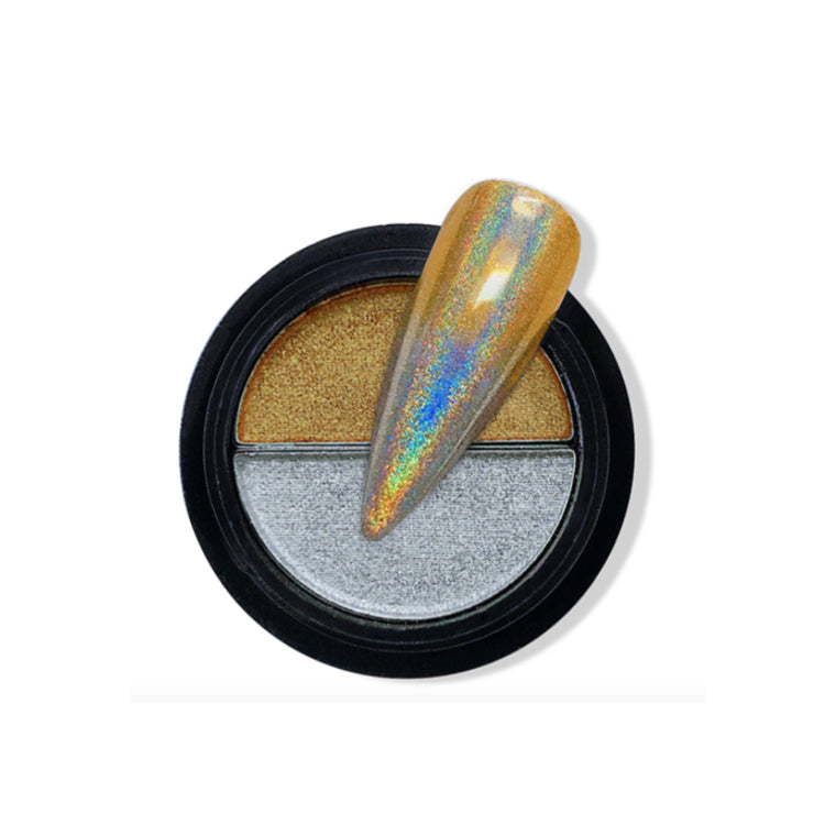 Duo Compact Chrome Powder - Holo Gold & Silver