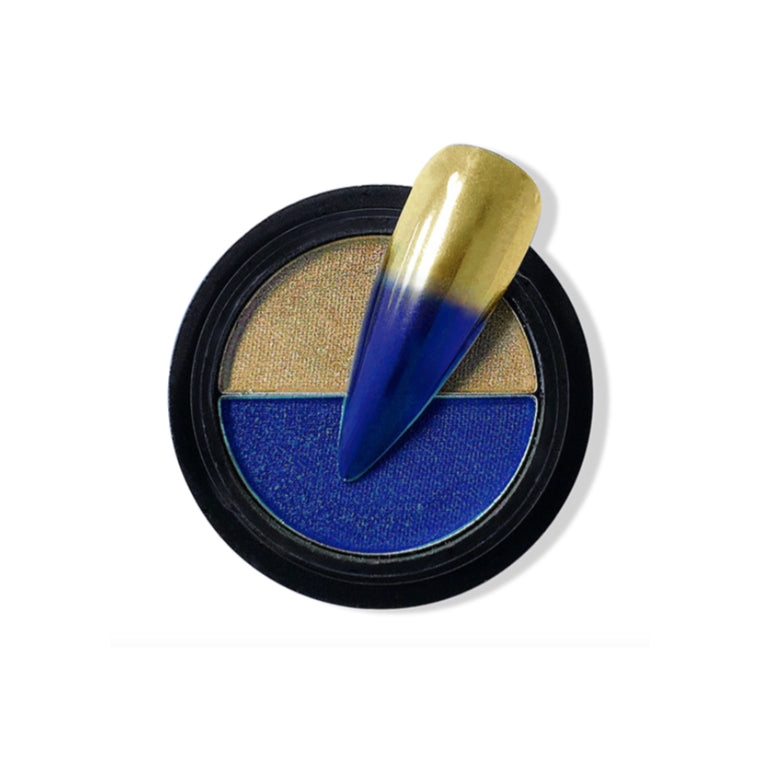 Duo Compact Chrome Powder - Sapphire & Gold
