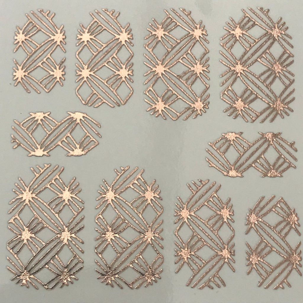HD Nail Art Metallic Stickers Rose Gold