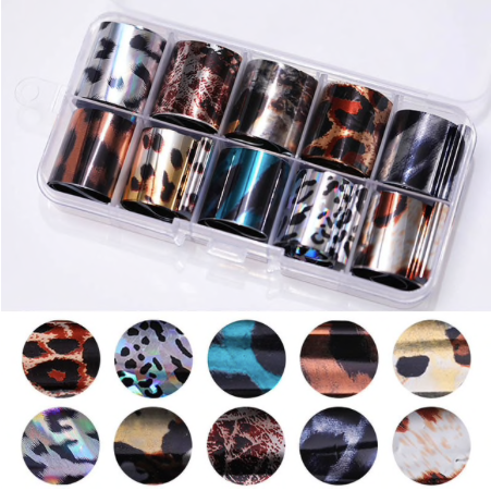 10pc Transfer Foils - Metallic Animal Print