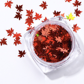 Maple Leaf Nail Art Shapes - Red/Burgundy