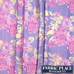 Cotton Jacquard Floral - Pink/Purple