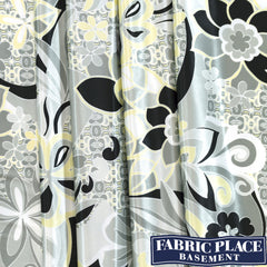 Satin Print Floral- Black and White