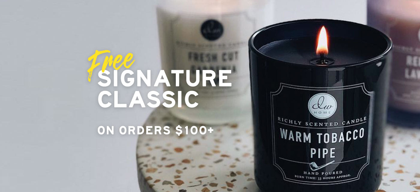 Free Signature Classic Candle on orders of $100 or more