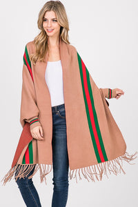 Camel Shawl/Wrap  With Green And Red Stripe
