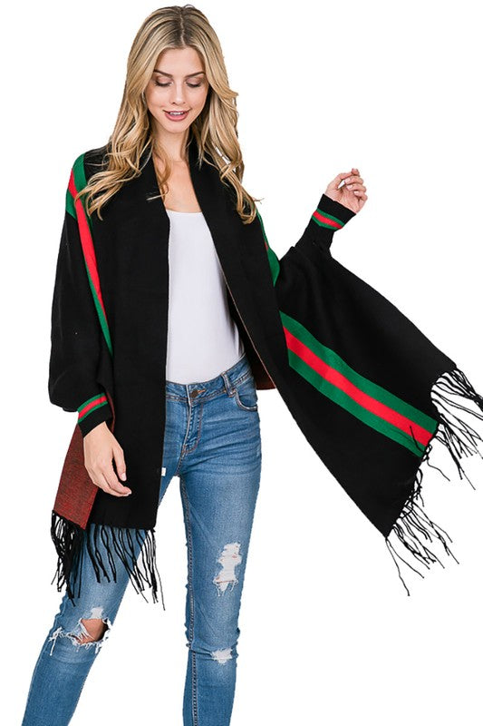 BLK SHAWL WITH GREEN AND RED STRIPE