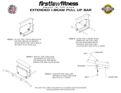 "12"" Extended I-Beam Pull Up Bar"
