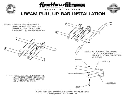 I-Beam Pull Up Bar - (With Mueller Colored Grip Tape)