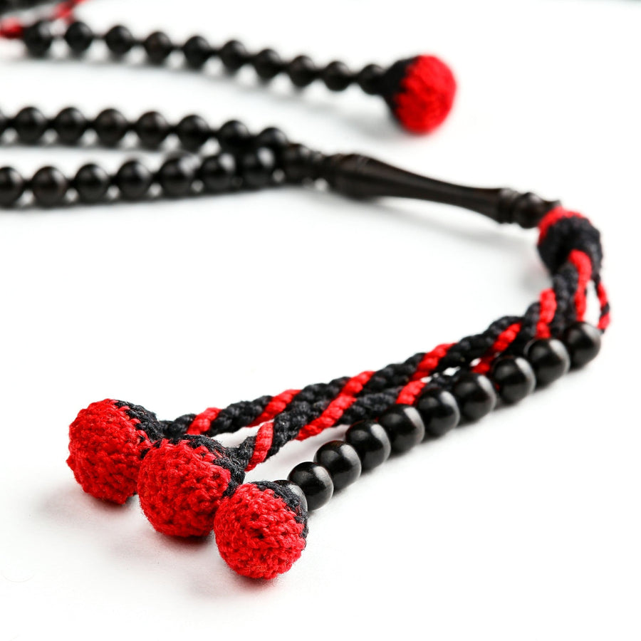 Pure Ebony With Red Africana Tassels (6 Mm) Traveller Islamic Prayer Beads 6 Mm