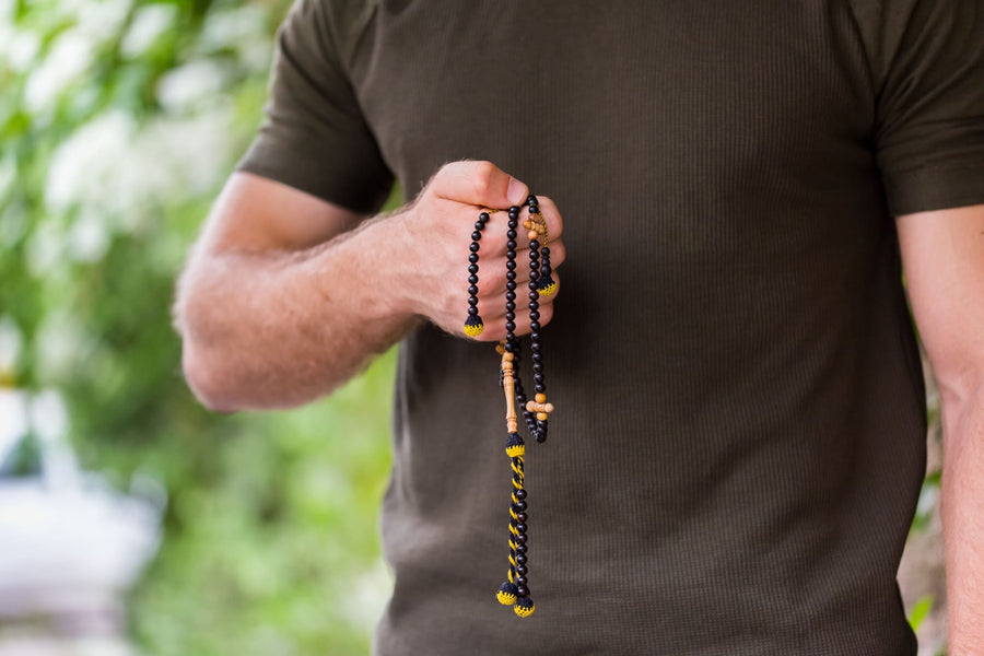 Ebony With Olive Wood Accents Traveller (6 Mm) Islamic Prayer Beads 6 Mm