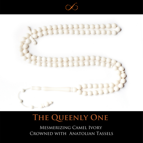 The Queenly One - Mesmerizing Camel Ivory Crowned with Hand-carved Anatolian Tasseling (Small)