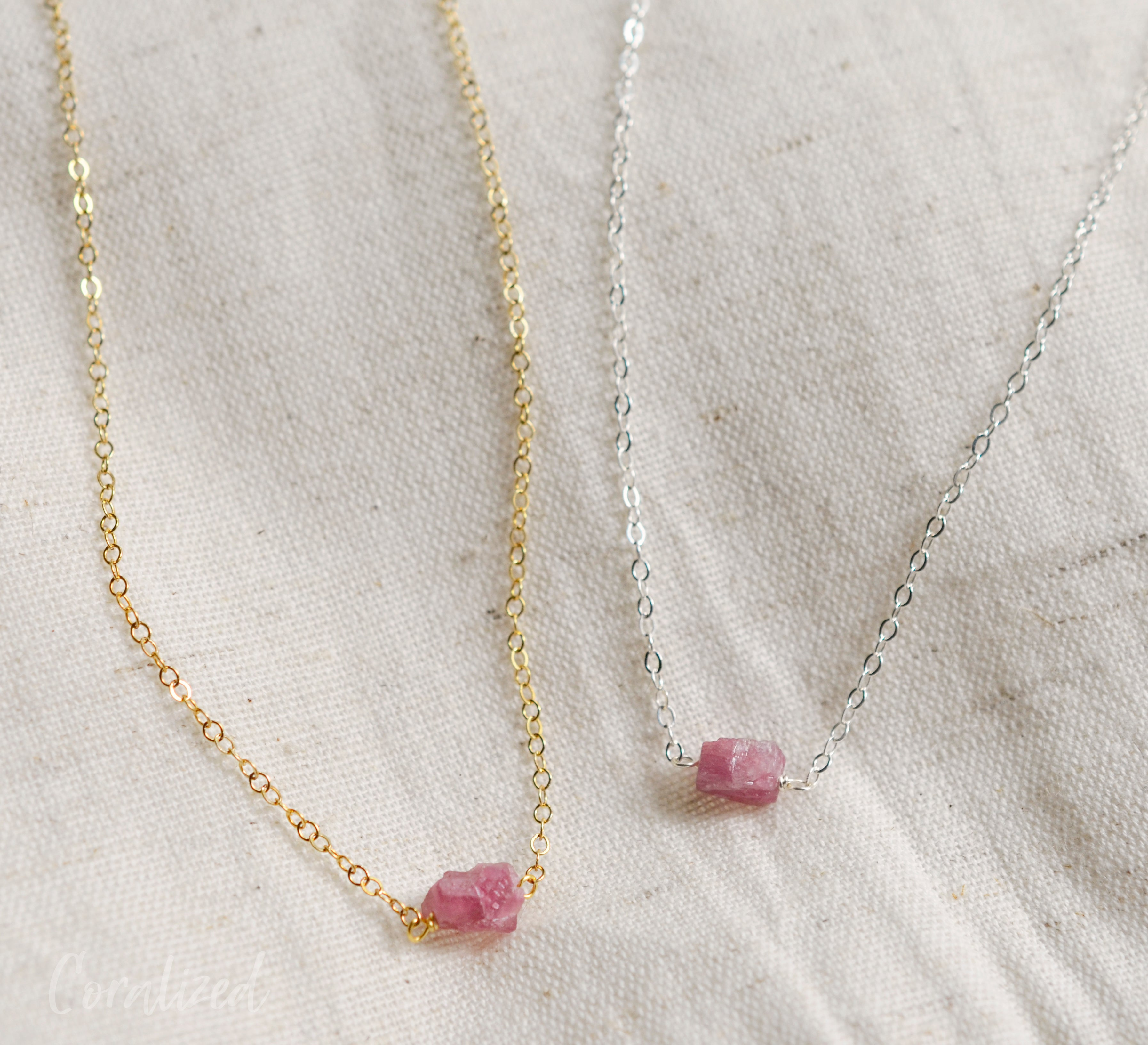 Raw Pink Tourmaline Necklace