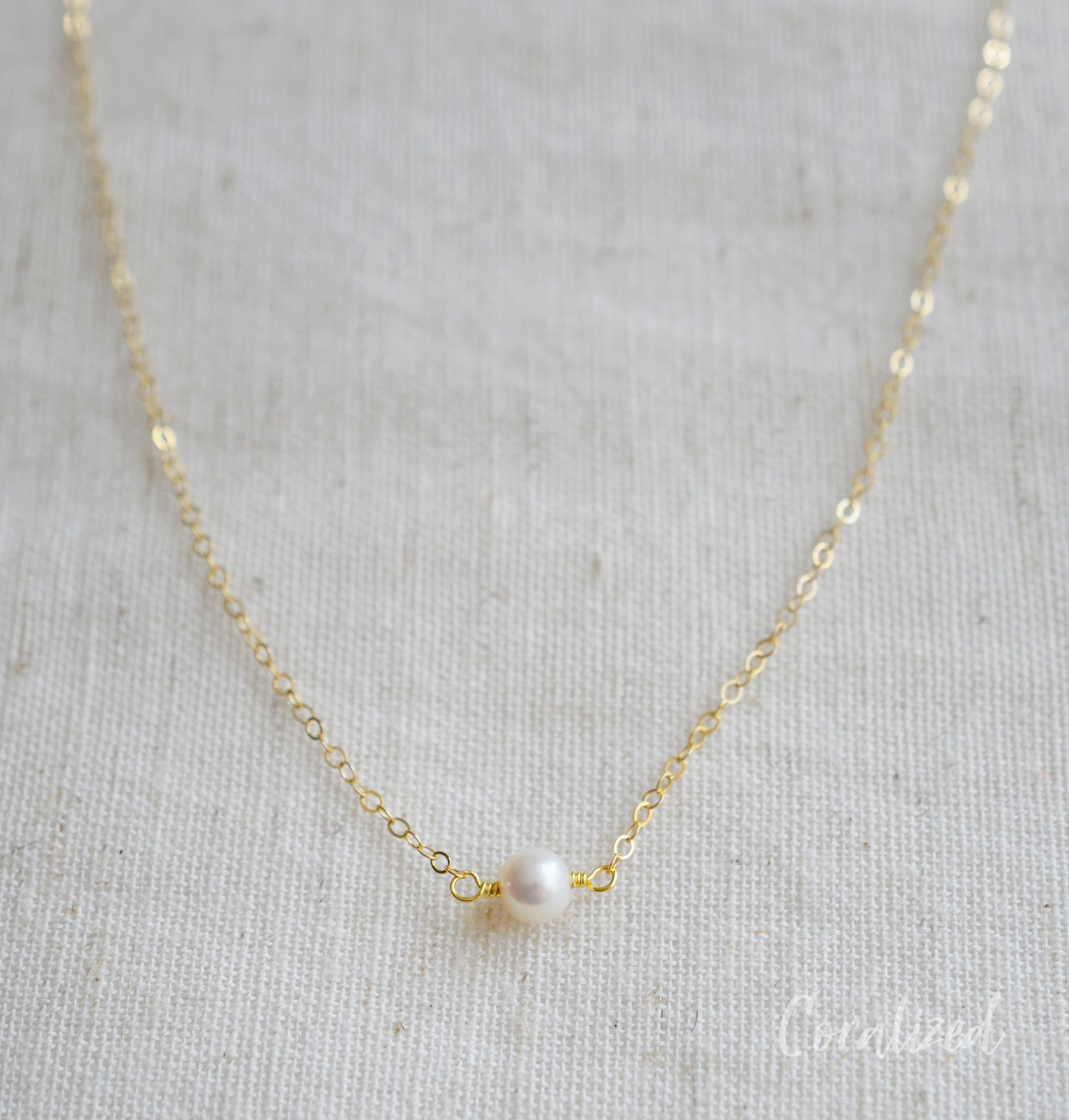 Small Round White Freshwater Pearl Necklace