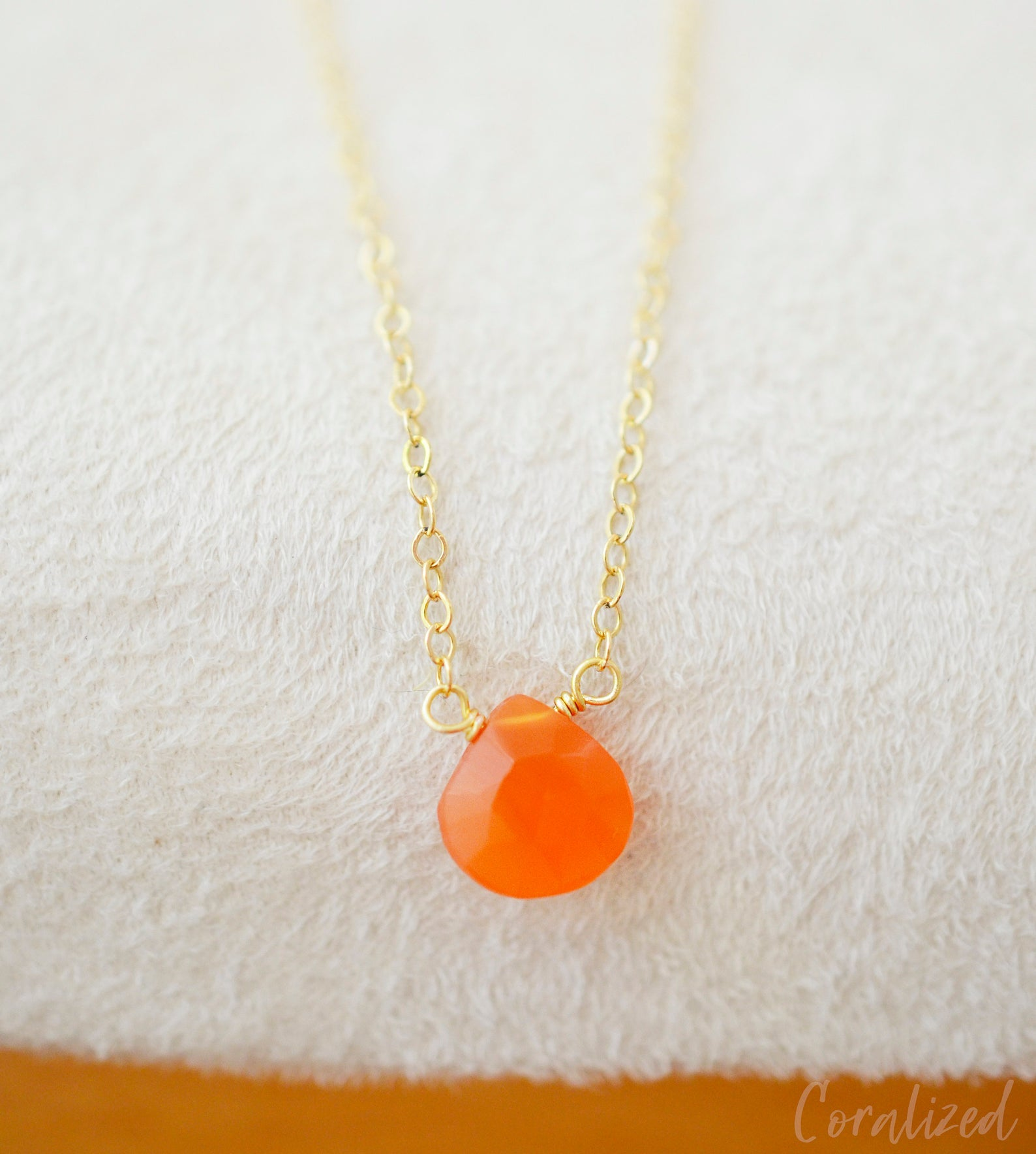 Natural Carnelian Drop Necklace