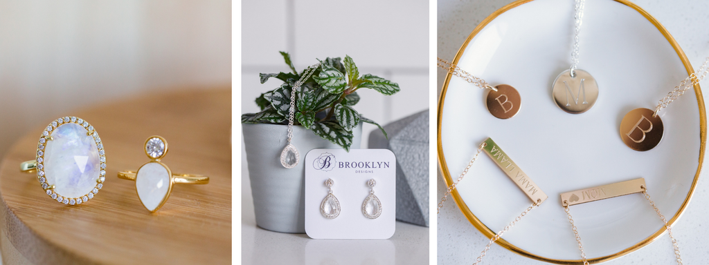 Brooklyn Designs gemstone rings bridal jewelry and engraved necklaces