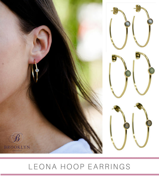 Leona gemstone hoop earrings