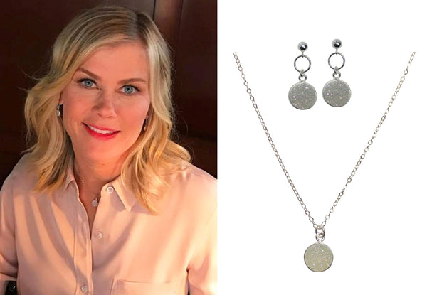 Alison Sweeney druzy necklace and earrings