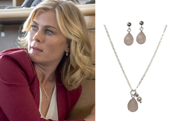 Alison Sweeney Murder She Baked pink earrings and necklace