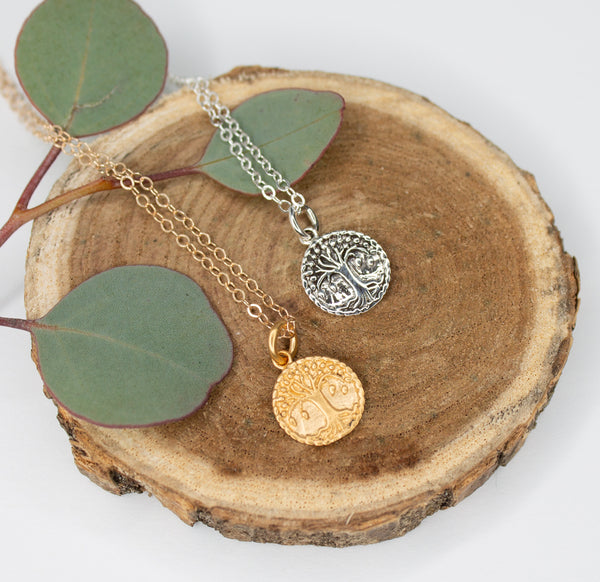 Small gold and silver medallion necklaces