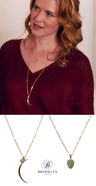 Sarah Drew wearing Brooklyn Designs Leo and Soho necklaces