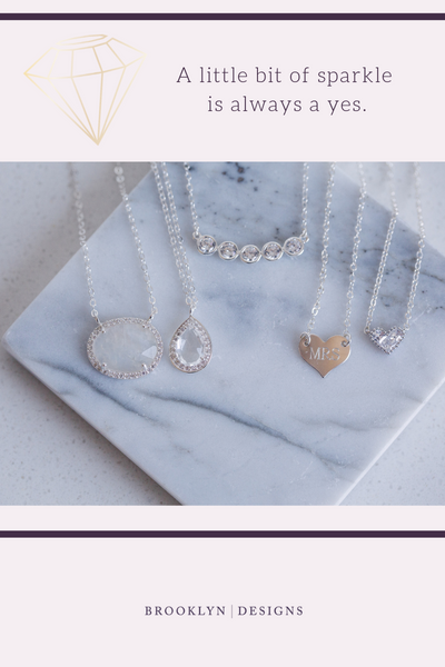 sparkly wedding dainty necklaces
