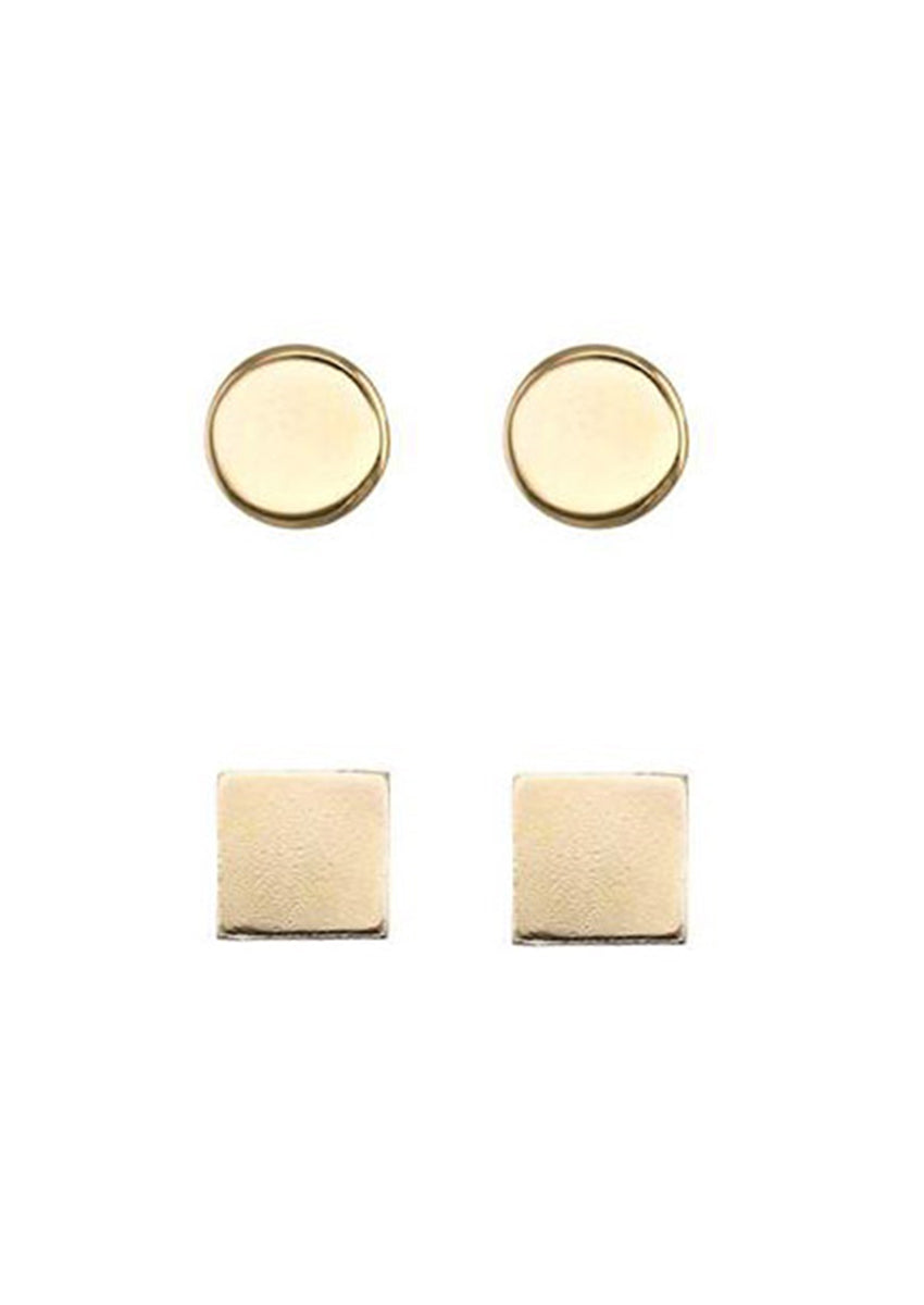 Drea Gold Stud Pack Circle & Square