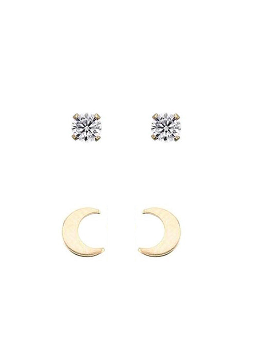 Drea Gold Stud Pack Moon & Stars