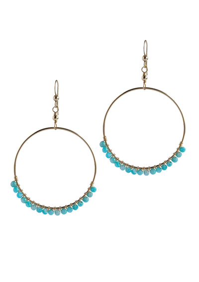 Audrina Amazonite Large Gold Hoops