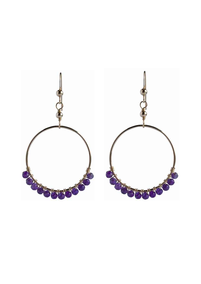 Audrina Amethyst Small Gold Hoops