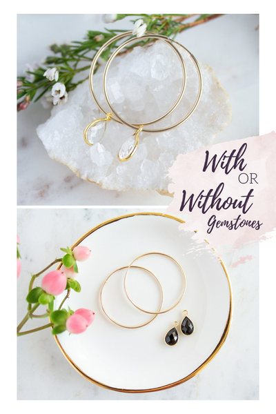 Mila Black Onyx Gold Hoops