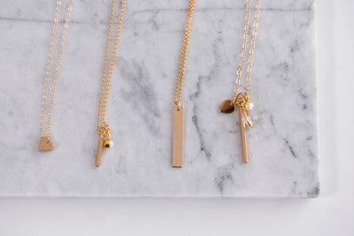 ENGRAVED Vertical Bar Silver Midi Necklace