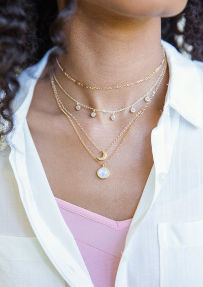 Darcy Rainbow Moonstone Gold Necklace