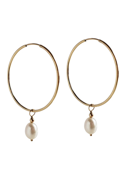Mila Freshwater Pearl Gold Hoop Earrings *As Seen On Candace Cameron Bure*