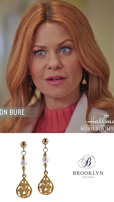 Roe earrings worn on Aurora Teagarden Mystery