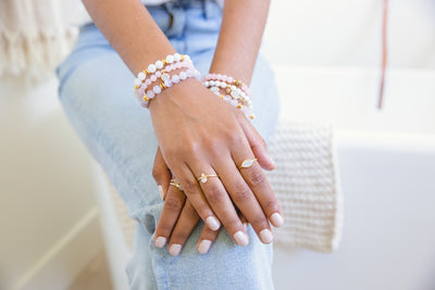 Alex Rose Quartz Gold Bracelet