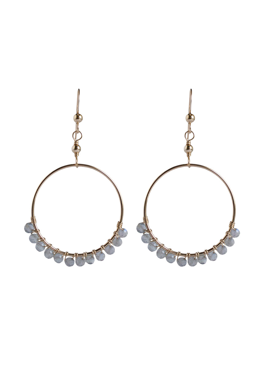 Audrina Labradorite Small Gold Hoops