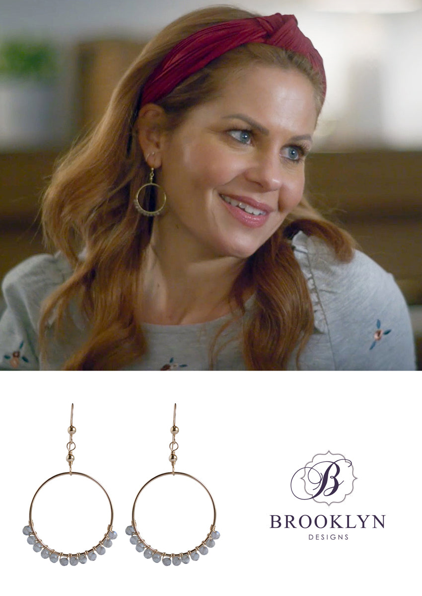 Audrina Labradorite Small Gold Hoops *As Seen On Candace Cameron Bure*